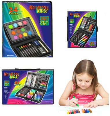 Kids Art Set Carry Case Box Crayons Paints Colouring In Pencils Stationery Craft