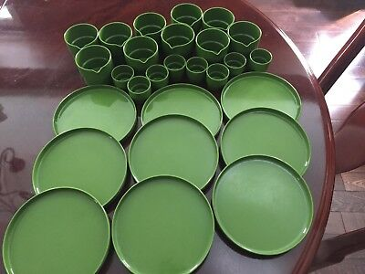 Mid Century Sarvis Desert Plates And Cups Lot Stackable - Made In Finland
