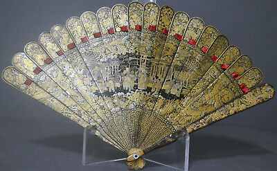 Interesting 19Th Century Chinese Export Hand Painted Brise Lacquer Fan Dragons