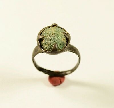 Nice Medieval Period Ring With Blue / Green Stone In Bezel - Wearable