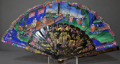 Interesting 19Th Century Chinese Export Lacquer Fan 1000 Faces