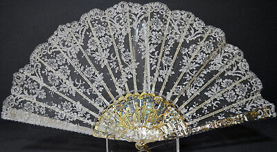 Superb French 19Th Century Fan Mother Of Pearl Gilding Lace