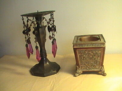 ❤️ PAIR OF ANTIQUE reproduction ORNATE BRASS/BRONZE CANDLE HOLDERS WITH  PRISMS