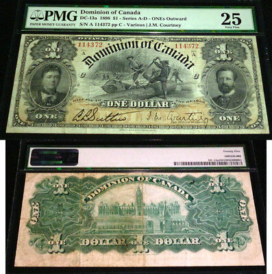 1898 $1 DC-13a DOMINION OF CANADA PMG 25 - OUTWARD -MOST DESIRABLE  IN THE SERIE