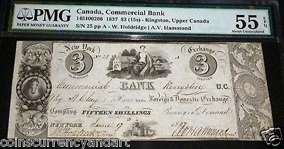 Commercial Bank, Canada $ 3 1859 Pmg 55 (About Uncirculated )