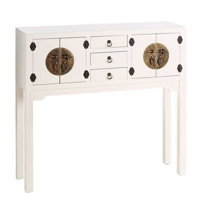 CONSOLLE ORIENTALE CINESE GIAPPONESE ETNICA MOBILE INGRESSO Bianco Shabby Chic