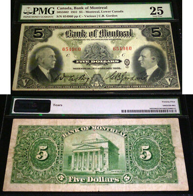 The Bank of Montreal  - 1931 $5  -PMG VF25