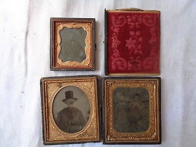 Vintage Lot Of 3 Tin Type Dauguerroetype Photo Case Frame Picture Children Men