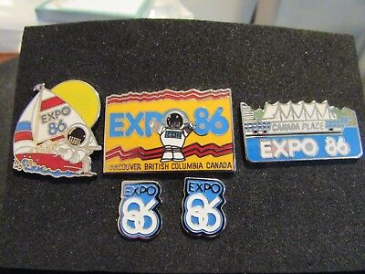 Collection of  Colourful Expo '86 Vancouver BC Silver Tone & Enamel Lapel Pins