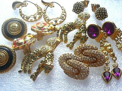 Vintage/ Estate Jewelry Lot Of 6 Pair Gold Tone Clip On Earrings- 1 Set Pierced