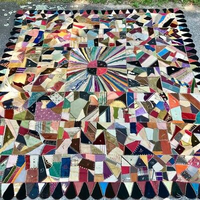 "Antique Victorian Crazy Quilt Velvets Silks Embroidery 80"" X 86"""