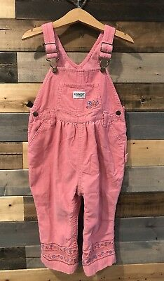 Oshkosh Pink Soft Corduroy Embroidered Overall Pants Size 24 Months