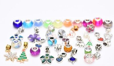 15 Assorted Pandora Inspired charms Bracelet Necklace Crystal Glass Beads Set