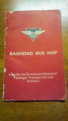 Rare Antique Baghdad city, Iraq bus map and tourist travel guide