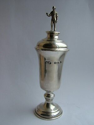 Solid Sterling Silver Cup and Cover with Figure Reid & Sons London c1910 - 1937