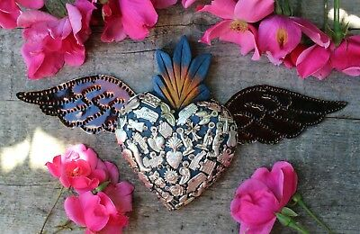 Blue & Silver Milagros Wood Heart Tin Wings Folk Art Michoacán Mexico Love Token