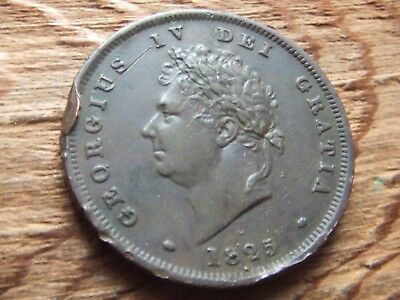 George Iv.  1825,  Penny.   Scarce Date.  Nice Portrait.     Nice Condition.