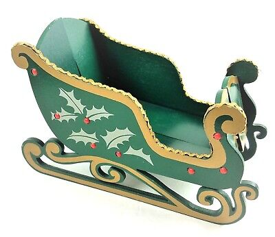 """Vintage Christmas Sleigh Wood Green 10"""" Collapsible Woolworth Made Taiwan 1960s"""