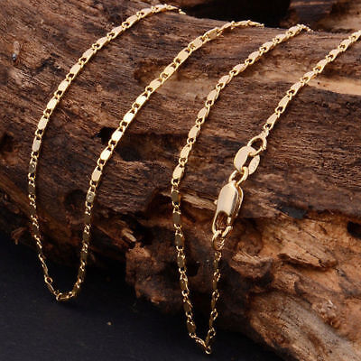 """Women Men 2mm 18k Gold Plated Plain Figaro Chain Link Necklace 20"""" Jewelry"""