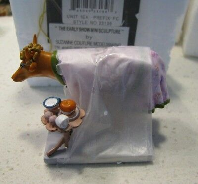 "Cow Parade ""the Early Show"" Mini Figurine Brand New W/tag & Packaging #23139"