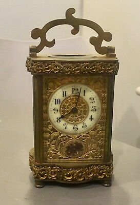 Antique French fancy carriage clock  for parts or repair