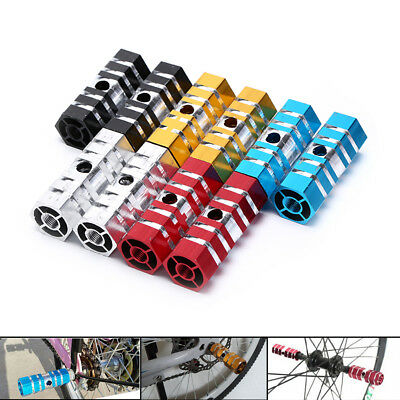 2PCS Bike Pedals Aluminum Alloy Axles BMX MTB  Pedal Bicycle Stunt Foot Pegs 3Q