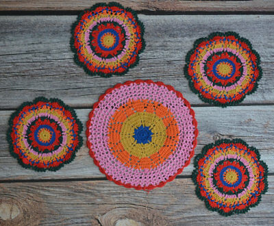 5 Crochet Round Rainbow Doilies Lot in bulk Party Coasters Table Runners
