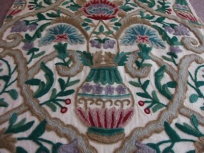antique style crewel work embroidery for cushion front