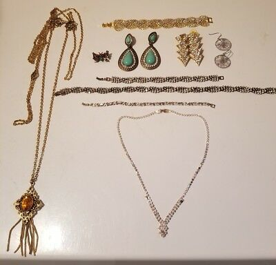 Lot Of 12 Vintage Antique Rhinestone/stone Jewelry Necklaces, Earrings & More