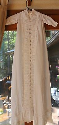 Beautiful Antique Victorian Lace Cotton Baby Christening Gown Dress /Eyelet lace