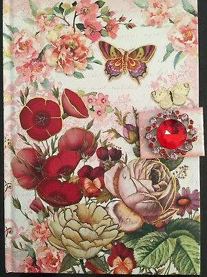Punch Studio Jeweled Journal Floral Snap Closure Diary Pretty!!