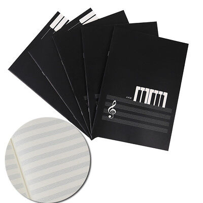 New Blank Music Manuscript Writing Paper Book - Staff Notebook Black 18 Pages