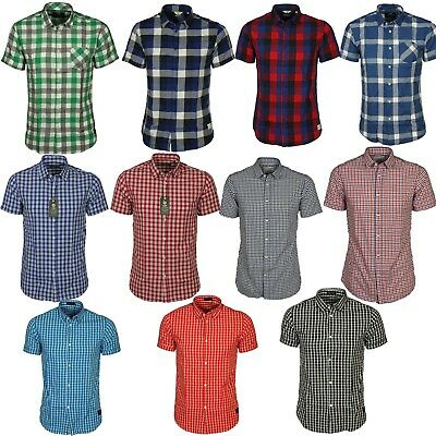 Mens Jack & Jones Check Design Short Sleeve Collar Cotton Slim Fit Casual Shirt