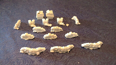 Resin set of sandbags trash, containers, WW2 scenery Sci-fi RPG 40K