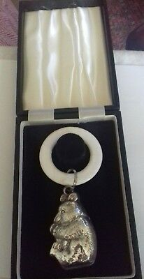 Vintage silver plated baby teething rattle in presentation box