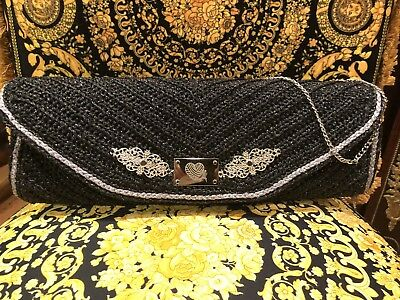100% Handmade Crochet L.A By Lola Alvora Metallic Charcoal  Clutch Bag Handbag