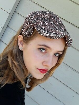 Gorgeous 1940s INTRICATE BEADED HAT Women's VTG MAUVE Cap Original EMPORIUM BOX