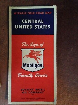1956 MobilGas Socony Mobil Oil  Highway Road Map! Central Unites States