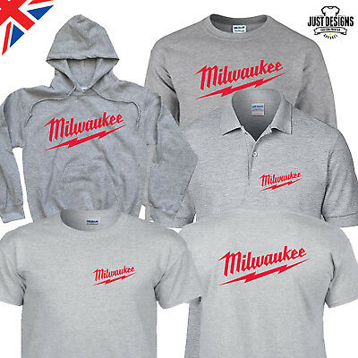 Milwaukee Grey T-shirt Hoodie Polo Shirt Jumper S-5XL Power Tools Adults Kids