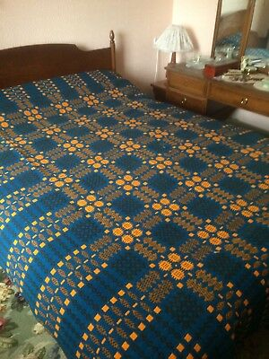 Antique Welsh Tapestry Blanket in beautiful,unusual colours, original early 20C