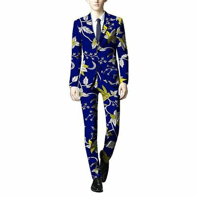 African Men Blazers And Trousers Dashiki Ankara Suits Slim Fit Blazer+Pant Custo