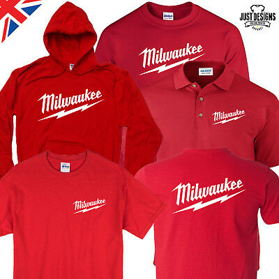 Milwaukee Red T-shirt Hoodie Polo Shirt Jumper S-5XL Power Tools Adults Kids