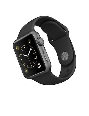 Apple Watch SmartWatch 38MM Space Gray Aluminum Case + Black Sport S/M Band