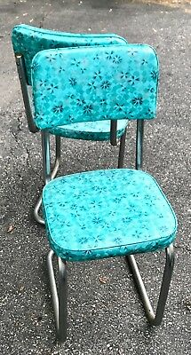 Vintage 1950s Formica Chrome Kitchen Table, 5 Chairs Set Torquoise/Teal.