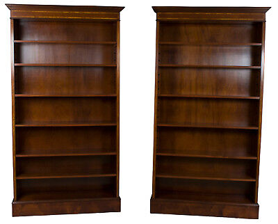 New Antique Style Pair of Mahogany Open Tall Bookcases Bookshelves Large Big FS!
