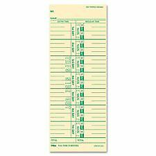 "Time Cards, Numbered Days, 100/PK, 3-1/2""x9, Sold as 1 Package"