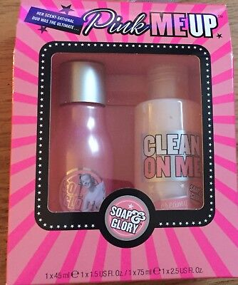 Soap And Glory Pink Me Up - Clean On Me shower gel & Original Pink body spray.