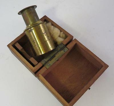 Antique Small Pocket Field Microscope In Original Old Wooden Case