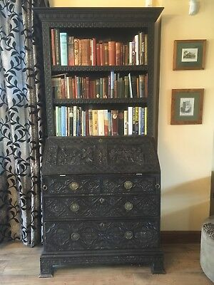 Victorian Jacobean Style Heavily Carved Oak Writing Bureau Bookcase