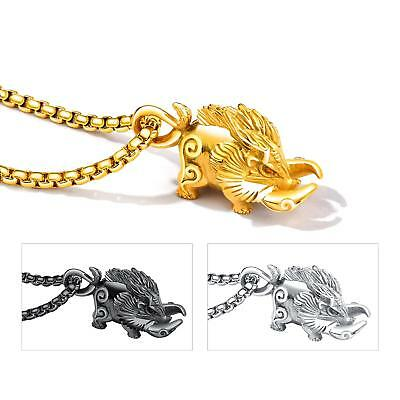 Unisex Celtic Wild Boar Pendant Necklaces Stainless Steel Cool Chains for Men